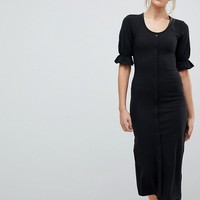 Fashion Union Tall Bodycon Scoop Neck Button Front Midi Dress at asos.com