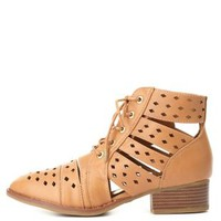 Dollhouse Cut-Out Lace-Up Booties by Charlotte Russe
