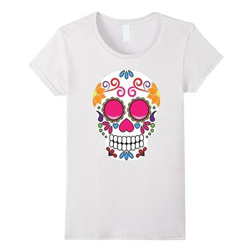 Colorful Day Of The Dead Sugar Skull Halloween T-shirt