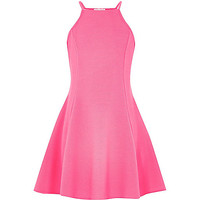 River Island Girls pink racer front skater dress