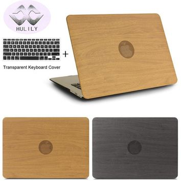 HULILY OAK Wood Pattern PU Leather Laptop Cases for apple MacBook Air Pro Retina 11 12 13 15 with Touch Bar New + keyboard cover