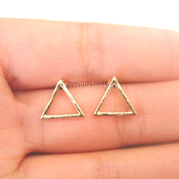Hollow Triangle Earrings - Gold and Silver, cute, simple triangle stud earrings; minimalist, chic, dainty, modern, hollow triangle earrings