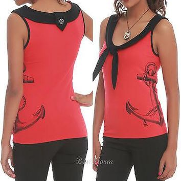 Licensed cool NEW 1950'S ROCKABILLY RETRO ANCHOR SAILOR TANK TOP RED/BLACK HOT TOPIC EXCLUSIVE