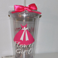Flower Girl Gift Tumbler Wedding -   Flower Girl Ring Bearer- Any Color Any Design Custom