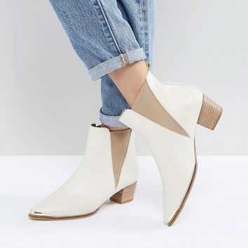 Office Azalea White Leather Ankle Boots at asos.com