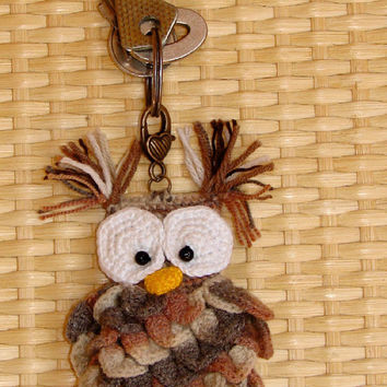 Keychain Owl phone accessory crochet charm Keychain Cute Owl pendant original keychain miniature owl gift under 15 gift for her owl bag