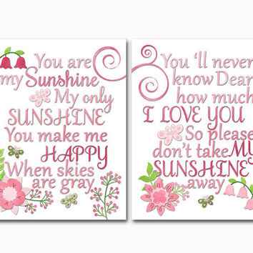 Baby nursery art pink red flower burst decor girl room print floral blooms bedroom poster you are my sunshine wall decoration toddler gift