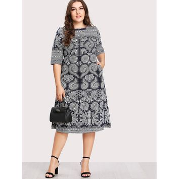 Plus Baroque Print Hidden Pocket Dress
