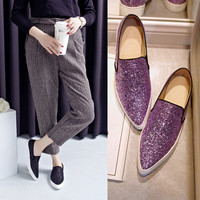 Autumn Pointed Toe Flat Leather Casual Shoes [4919914756]