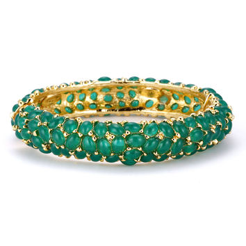 Kenneth Jay Lane Emerald Cabochon Bangle Bracelet