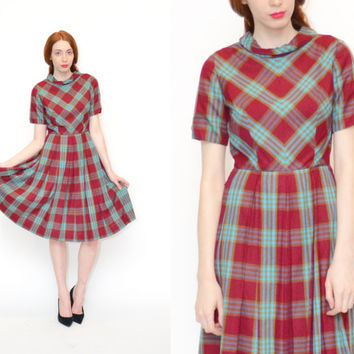 50s GINGHAM PLAID box pleated day dress // burgundy blue printed short sleeve rolled collar PREPPY high waist full skirt midi dress