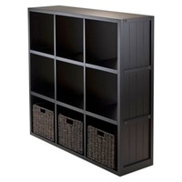 Winsome Trading Timothy 3-Tier Wide Shelf with 3 Woven Baskets in Black/Chocolate