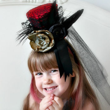 Over The Top Mini Top Hat in Red and Black with Feathers for Mad Hatter Party Tea Party or Steampunk
