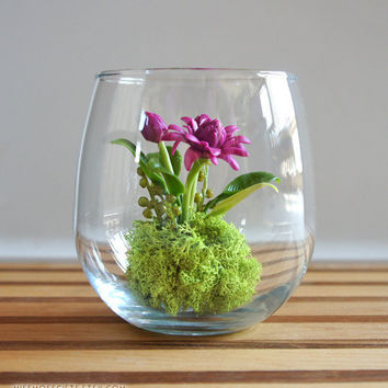Miniature Torch Ginger Flower Terrarium by Miss Moss Gifts