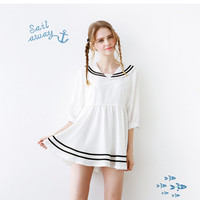 Harajuku White Sailor Striped Dress