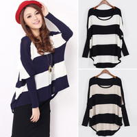 Women sweater Jumper Pullover Outwear knit top knitwear batwing sleeve Blouse 7_S (Color: White) = 1914129284