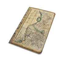Mini Travel Notebook Journal, Antique Map Jotter, Old World Travel Log, Vintage Style Pocketbook