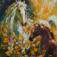 Horse wall art Original oil painting on canvas Impasto Palette knife Fine art