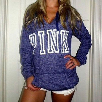 Victoria's Secret PINK Women's Fashion Letter Print Hooded Long-sleeves Pullover Tops Sweater