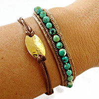 Turquoise Stone Bracelet - Adjustable - Tan Leather with Bronze Beads