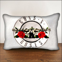"Guns N Roses White Logo - Pillow Cover in Size 18""x18"" and 30""x20"""