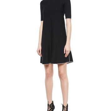 Lakelyn Evian Contrast-Trim Dress, Black/Ivory Ice, Size: