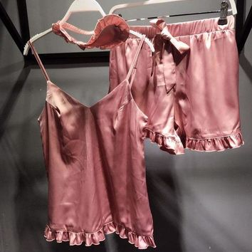 Victoria's Secret Women Silk Satin Eyeshade Shorts Robe Sleepwear Loungewear Set Three Piece