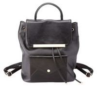 Black Plated Faux Leather Bucket Backpack by Charlotte Russe