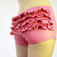 VaVaVoom Hot Pink Ruffle Booty Shorts Hot Pants by xannabotx