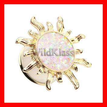 "Gold Blazing Sun Opal Ear Gauge Plug 6g 4g 2g 0g 00g 7/16"" 1/2"" 9/16"" 5/8"" Hollow Back Gold Opal Plug Double Flare Glitter"