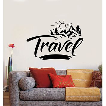 Vinyl Wall Decal Travel Sun Mountains Tree Nature Inspirational Stickers Mural (g730)