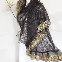 Brown Shawl, Lace Shawl, Gold processing shawl, Sequin scarf, Gold sequin scarf, Glittering Night shawl, Christmas gifts, Mother Gifts