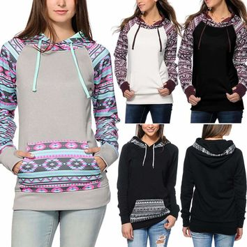 Womens Long Sleeve Aztec Boho Hoodies Sweatshirt Jumper Hooded Pullover Tops