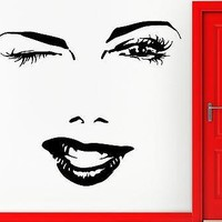 Wall Sticker Vinyl Decal Eyes Winking Sexy Beautiful Hot Girl Woman Wink Unique Gift (z004)