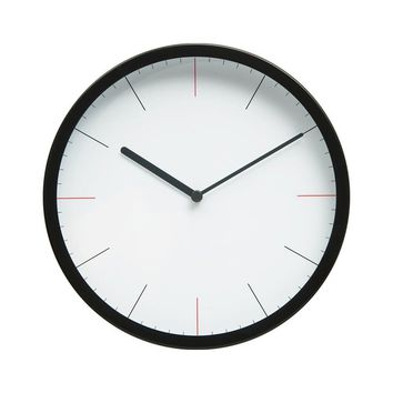 """Minimalist Style Bold Design 10"""" Non-Ticking Silent Wall Clock with Matte Black Finished Frame (Bold Lines)"""