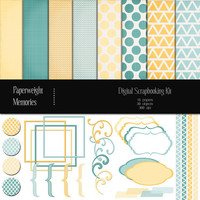 Digital Scrapbook Kit - Lemon & Mint - digital scrapbooking kit - digital papers and clipart - lemon, mint, yellow, blue - Commercial Use