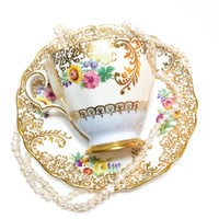 Lacy Gilded Grosvenor Tea Cup, Blue, Pink Roses, Yellow Flowers,  Fancy, English Bone China, High Tea, 1960s