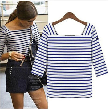 Summer Plus Size Slim Stripes Tops Long Sleeve Bottoming Shirt [6281584004]