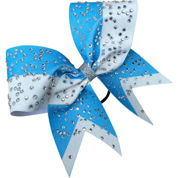 Sky blue and white glitter bow with bog rhinestones