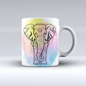The Sacred Watercolor Elephant ink-Fuzed Ceramic Coffee Mug
