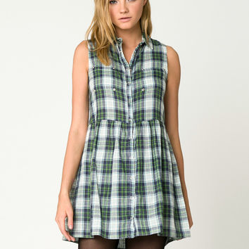 Plaid Snap Front Dress