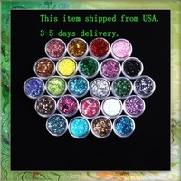 24X Mixcolor Glitter Powder Dust Nail Art Tip Decoration B0320 by Come2Buy