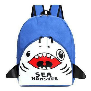 Adorable Shark Sea Monster Shaped Gym Rucksack Backpack in Blue | Shark Week