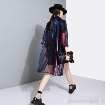 off white See Through Laser Symphony Sunscreen Jersey Jacket pink Clear Jacket Iridescent Rainbow Hologram Women Shirt Blouse Coat