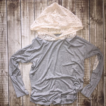 Hoodie w/ Lace Elbow Patch Grey