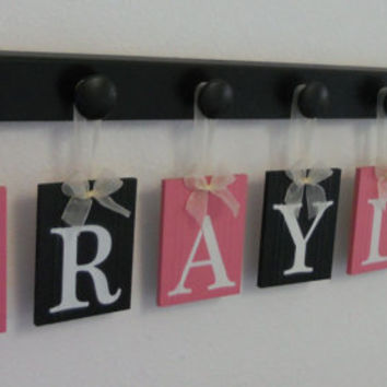 Pink and Black Baby Girl Nursery Room Decor Personalized for BRAYLEE 7 Wooden Wall Hooks