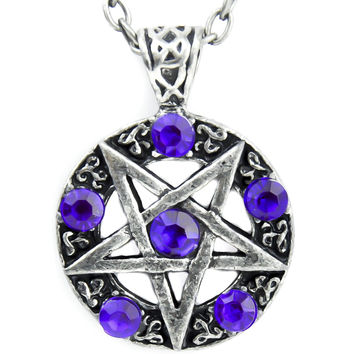 Ritual Inverted Pentagram Necklace with Purple Stones