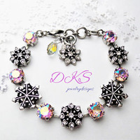 Winter Wonderland, Swarovski Snowflake Bracelet, 8mm,Pink Shimmer, Antique Silver, Adjustable, DKSJewelrydesigns, FREE SHIPPING