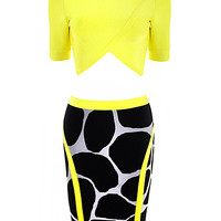 The Spirited Feline Yellow Crop Top and Animal Print Two Pieces Dress
