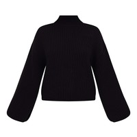 Black High Neck Split Sleeve Jumper